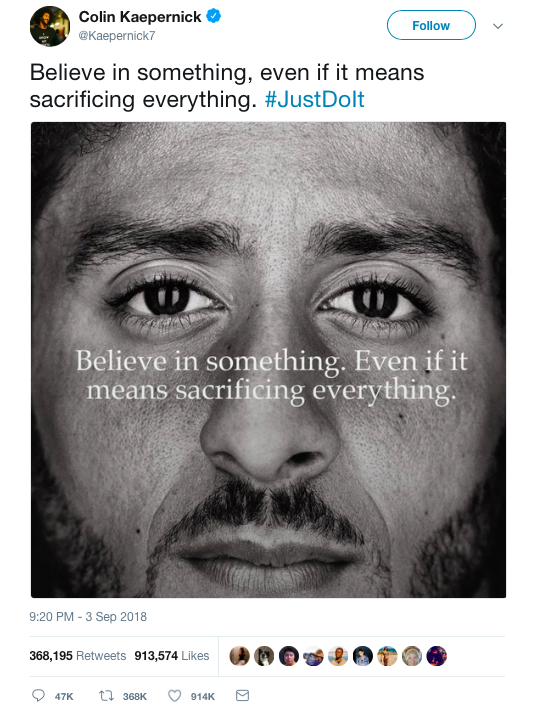 Why 'Believe in something' is the right thing for Nike